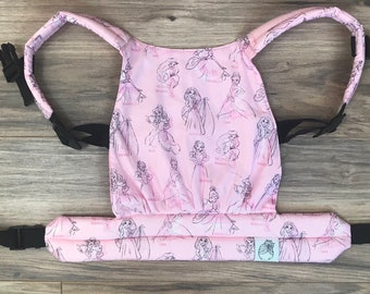 Light Pink Disney Princess Sketches Baby Doll Carrier