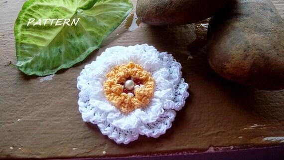 Crochet Applique Patternlarge Beaded Flower Pattern Double Layered