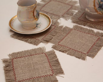 Set of 6 Rustic Linen Tea or Coffee Coasters/ Mug Rugs with fringed edges (5 for cups and 1 for teapot)