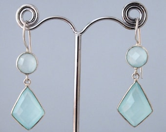 Silver earrings and green chalcedony