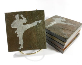 MARTIAL ARTS Decor Coasters Art - Drink Coasters Stone Coasters Martial Arts Gift, Sensei Gift, Karate Gift, Karate Decor, Coasters and More