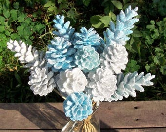 Pine Cone Flowers, Winter Wonderland.  On 12-inch stems.  Winter decor, Christmas, centerpiece, bouquet, floral.