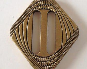 1920s Art Deco Gold Painted Wooden Diamond Shape Buckle