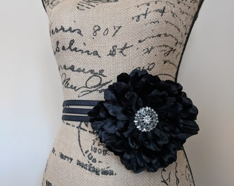 Black Flower Sash