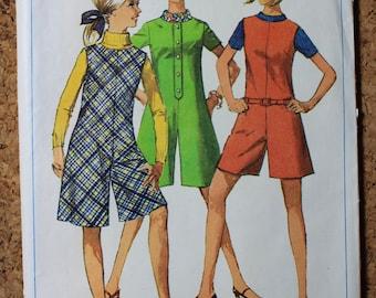 Vintage Simplicity Sewing Pattern 7215 Size 11Jp Pantdress and Pantjumper 1967