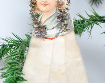 Early 1900's Victorian Tinsel & Die Cut Christmas Scrap Ornament, Girl with Cotton Dress