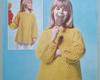 Vintage Crochet Pattern 1970s Girls Lacy Dress Smock Top Tunic 70s UK original pattern Patons 2254