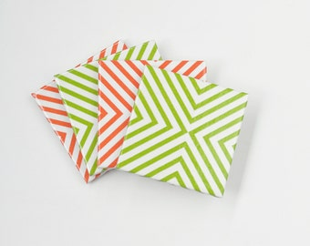 Minimal Geometric Coasters Green Orange or Mix Modern Chic Ceramic Tile Coasters, set of 4