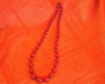Red 12 inch drop Grraduated size Beaded Necklace