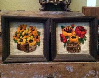 Vintage Framed Crewel Flower Wall Hangings Daises Pansies