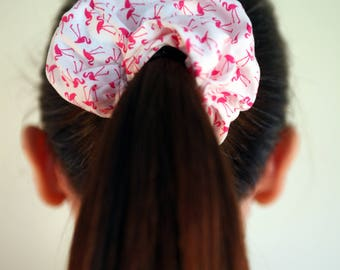 Hair Scrunchies Flamingo detail, Hair Band, Hair Accessories, Handmade Scrunchie