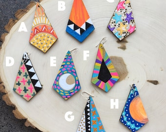 Wooden Painted Earrings- Mix and Match