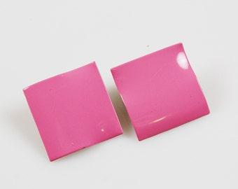 Vintage Retro Eighties Pink Enamel on Metal Pierced Earrings