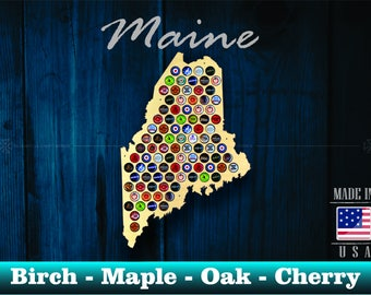 Maine Beer Cap Map ME - Beer Cap Holder Beer Cap Display Gift for Him Wedding Gift Fathers Day Birthday Unique Christmas Gift