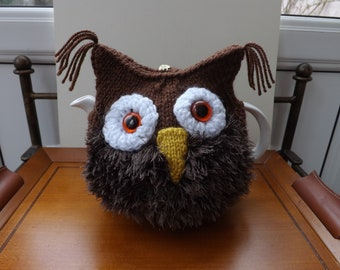 OWL Tea Cosy, Grey Owl. Mothers Day Gift, Brown Owl Gift, Bird Lovers Gift, Owl Lovers Gift, Hand Knitted, Small, Medium or Large Teapot.