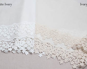 1y Broderie Anglaise Embroidery cotton eyelet lace trim 31cm YH1511 laceking2013