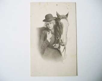 Vintage Postcard early 1900s, A girl and her horse, Black and White Photo Postcard, Paper Ephemera, Horse and Rider, Postcard, Scrapbooking