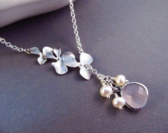 Bridesmaid Necklace, Silver Orchid Flowers with Freshwater Pearls and Glass Jewel, Wedding Jewelry, Lariat Necklace, Birthstone Necklace