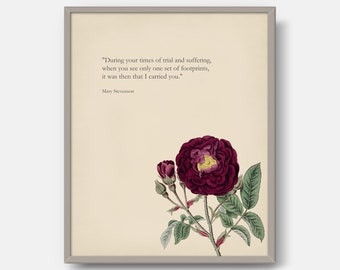 Mary Stevenson Quote, Typography Print, Botanical Art, Vintage Printable Floral, Red Wine Burgundy Rose, Quote Art, DIGITAL DOWNLOAD