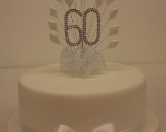 Cake Topper White Diamond  burst spray with birthday or anniversary diamante number matching ribbon