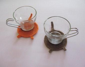 Crochet cat butt coasters Crazy cat lady gift  Funny mug rug set of 2 Joke gift for couple  Cat lover mom gift