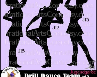 Drill Dance Team Silhouettes Jugendgarde Set 2 - 3 EPS & SVG Vinyl Ready files and 3 PNG Digital files and scl Feather Hats Poofy Sleeves