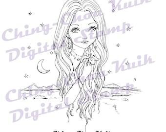 Nightfall - Instant Download digitale stempel / Iris zee maan ster kleurplaat Line Art Fairy meisje door Ching-Chou Kuik