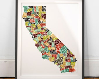 California typography map, California map art, California art print, California poster, California gift, hand drawn state typography series