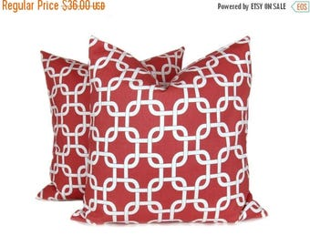 15% Off Sale Throw Pillow Covers 20 x 20 inch. Coral Pillow. Coral and White Pillows. Chain.Decorative Pillow cover. Printed fabric on both