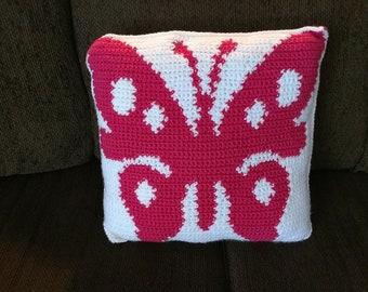 Pink Butterfy Pillow