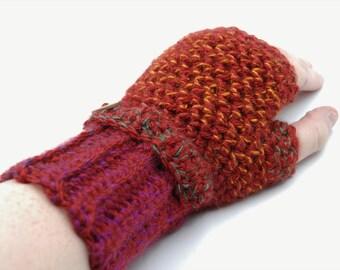 Fingerless gloves, crochet wristlets, fingerless mittens, crochet wrist warmers, red gloves, red mittens, womens gloves, fingerless mitts