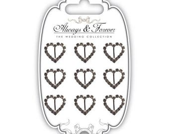 9 loops for Ribbon heart (20 mm) with Rhinestones-AFCHRM006