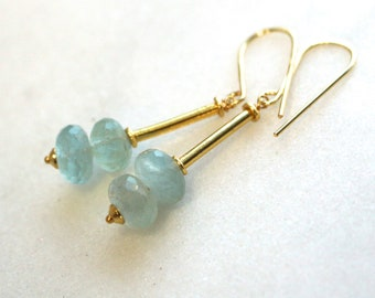 Natural Blue Aquamarine Drop Link Earring in Gold Vermeil...