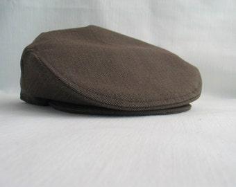 Brown Jeff Cap, Brown Herringbone Wedding Newsboy, Little Boy Clothing, Baby Flat Cap, Toddler Birthday Photo Clothing, Man's Brown Hat