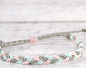 pastel mix braided bracelet, friendship bracelet, adjustable bracelet, surfer string bracelet, stacking bracelet, costa rica beach bracelet