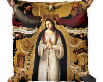 Virgin Mary art - Square Pillow - The Immaculate Conception - catholic home decor - religious pillow