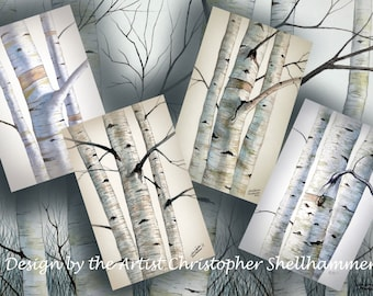 Birch Trees in Greeting Card, Bookmarker, Gift Tag in 4 Different Paintings in Card Stock Size, Free Shipping, Instant Download.