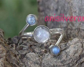 Moonstone Ring, Rainbow Stone Ring, MoonStone Silver Ring, Gypsy Ring, Statement Rings, 925 Sterling Silver Rings,Size 4,5,6,7,8,9,10,11,12