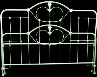 King Size Antique Cast Iron Bed, wrought iron bed, cast iron bed, metal bed, steel bed, art deco bed, king size bed, antique old bed