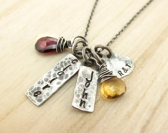 Personalized Mom Necklace Mother's Necklace Family Necklace Rustic New Mom Mothers Day Birthstone Necklace Antiqued Silver Family Jewelry