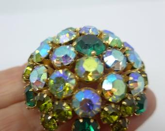 Vintage Glittering Signed Warner  Paste Rhinestone Domed Brooch Pin