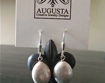 Brushed silver oval earrings