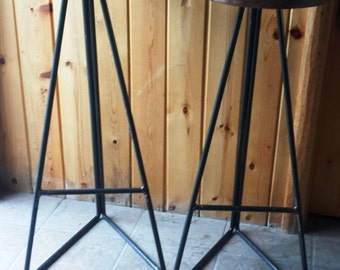 Industrial Metal Stool Base with Round Walnut Seat In Your Choice of Heights
