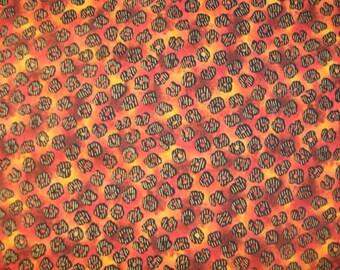Hi Fashion Kenta Markings on Orange Cotton Fabric BTY