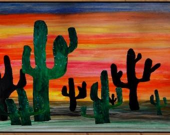 Cactus Desert area rug indoor-outdoor area rug,  Floor Mat. Available in 3 sizes