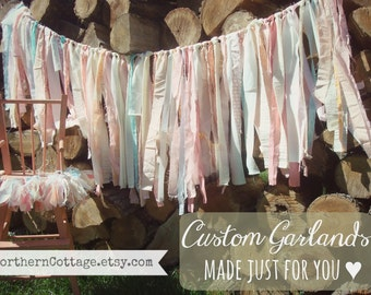 FABRIC GARLAND Ribbon BANNER // Shabby Chic, Romantic, Modern, Rustic, Handmade, Wedding, Nursery, Shower // You PiCK CoLoRs