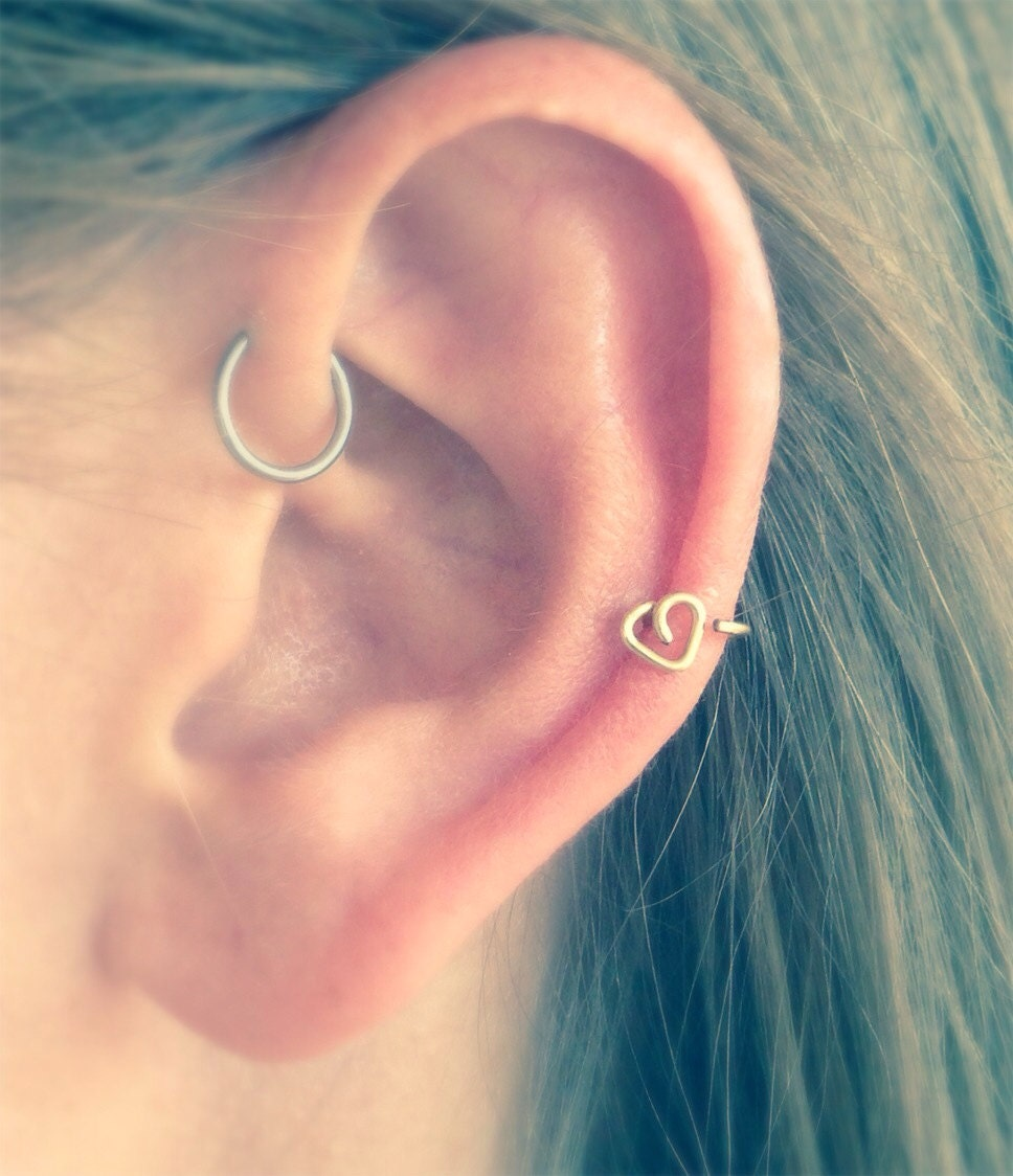 Herz-Helix-Ohrring in Silber gold oder rose gold