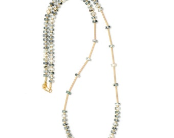Long gemstone necklace with Baumachat beads-gold, green, cream-handmade natural stone necklace-Eva