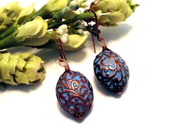 So Pretty Turquoise Oval Earrings Featuring Copper Swirling Vine Design - Turquoise Earrings