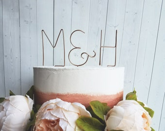 Rustic Wire Monogram Initials Cake Topper - Chic - Wedding - Anniversary - Engagement - Shower - Personalized - Custom - Letters - Ampersand